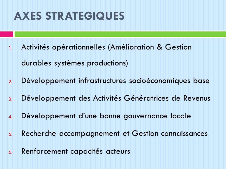 AXES STRATEGIQUES Activités opérationnelles (Amélioration & Gestion durables systèmes productions)
