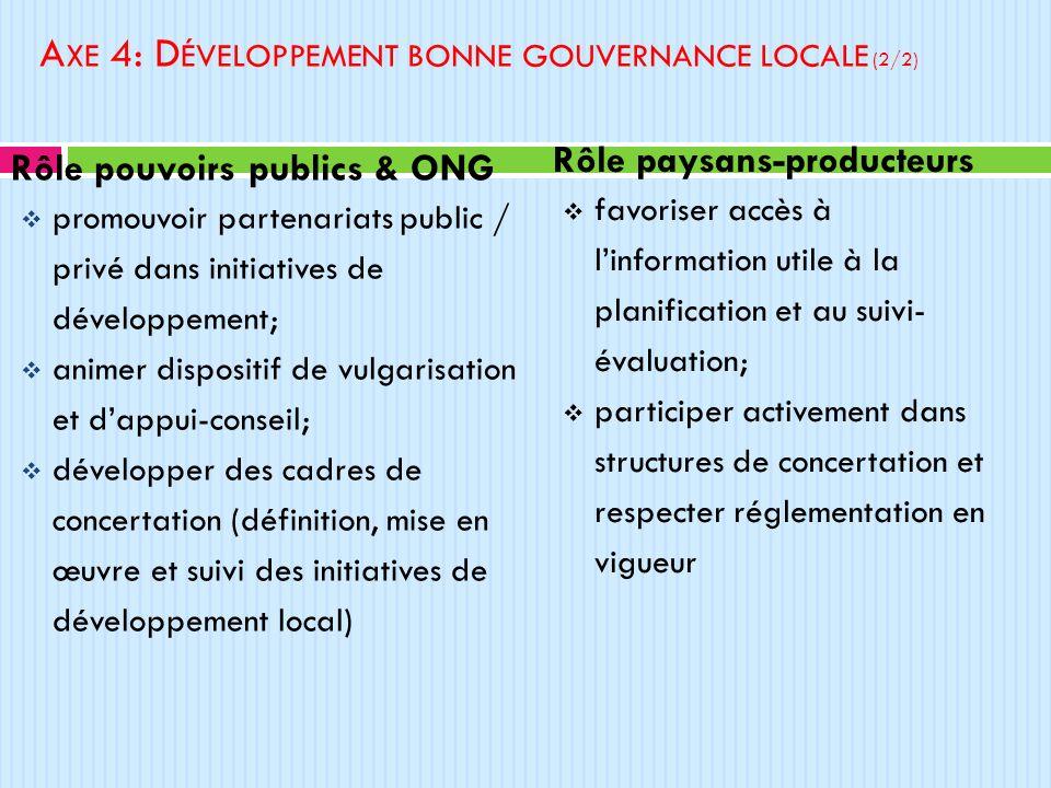 Axe 4: Développement bonne gouvernance locale (2/2)