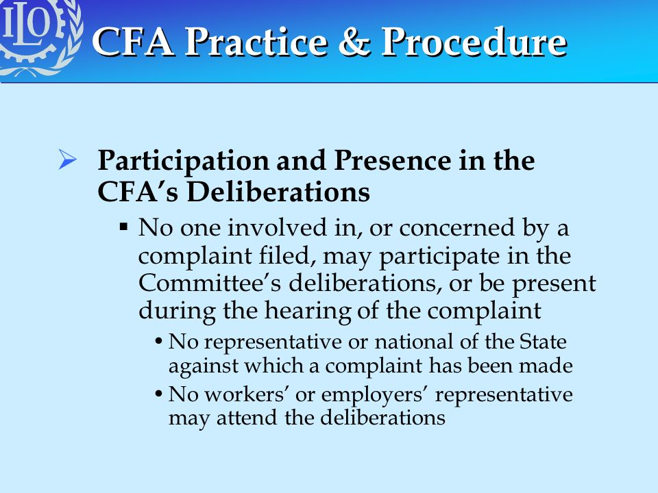 CFA Practice & Procedure