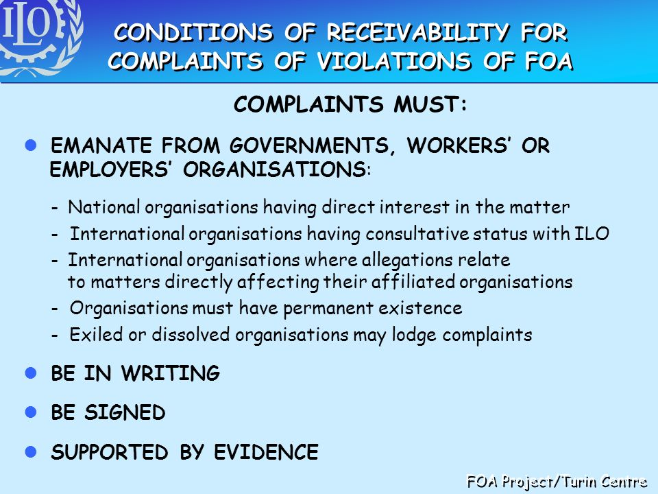 CONDITIONS OF RECEIVABILITY FOR COMPLAINTS OF VIOLATIONS OF FOA