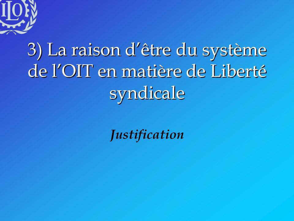 3) La raison d'être du système de l'OIT en matière de Liberté syndicale