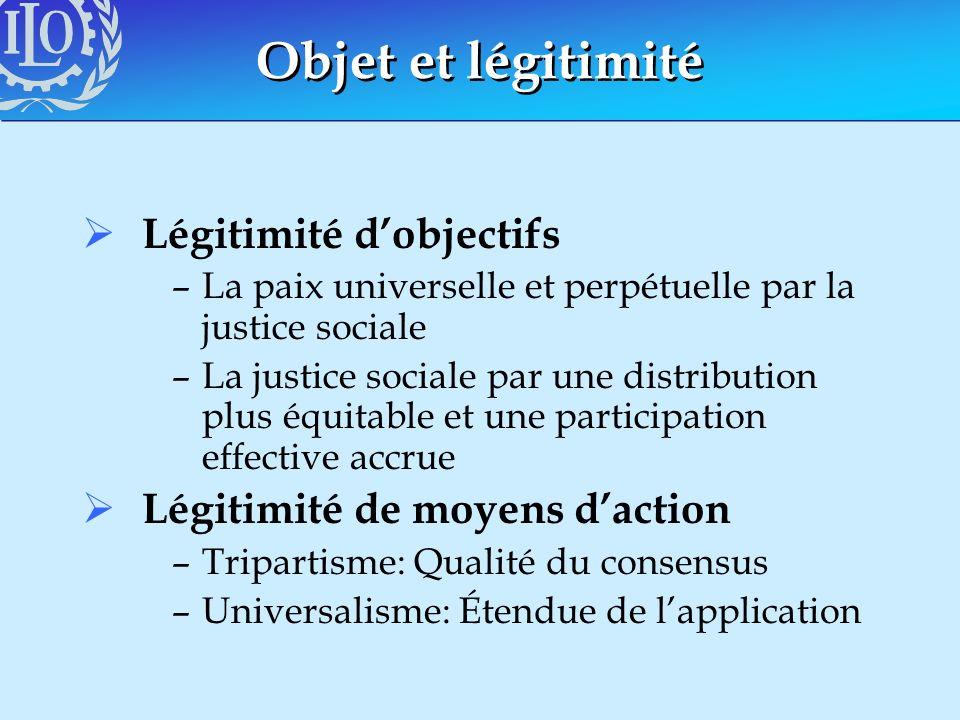 Objet et légitimité Légitimité d'objectifs