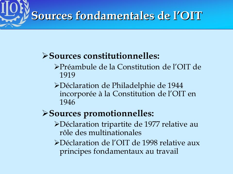 Sources fondamentales de l'OIT