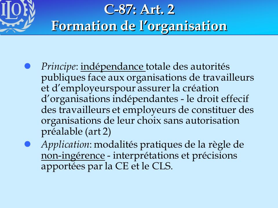 C-87: Art. 2 Formation de l'organisation