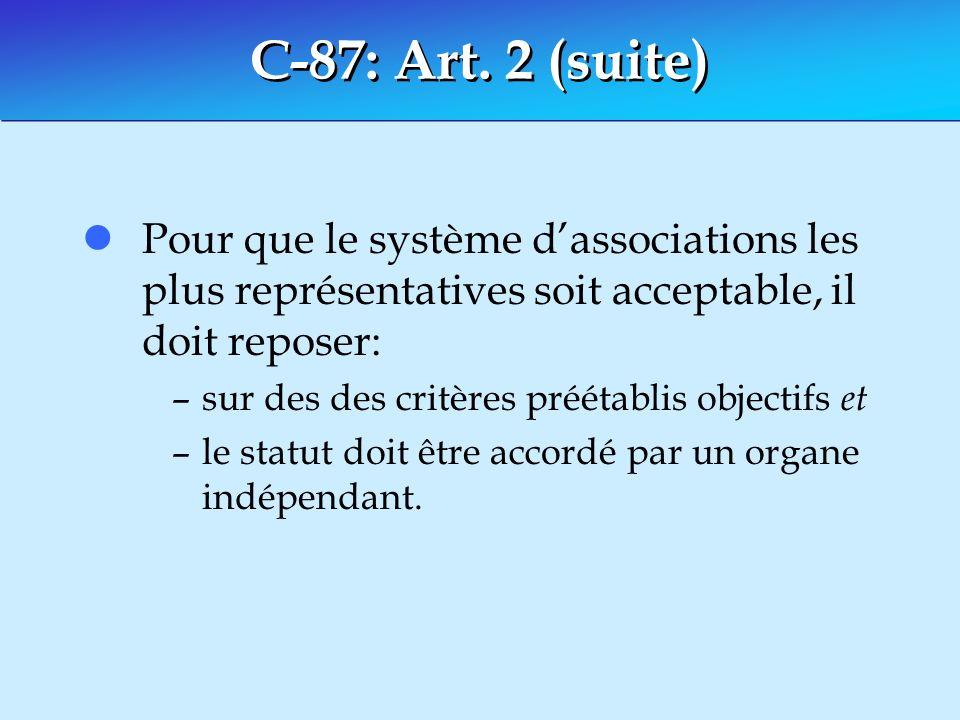 C-87: Art. 2 (suite) Pour que le système d'associations les plus représentatives soit acceptable, il doit reposer: