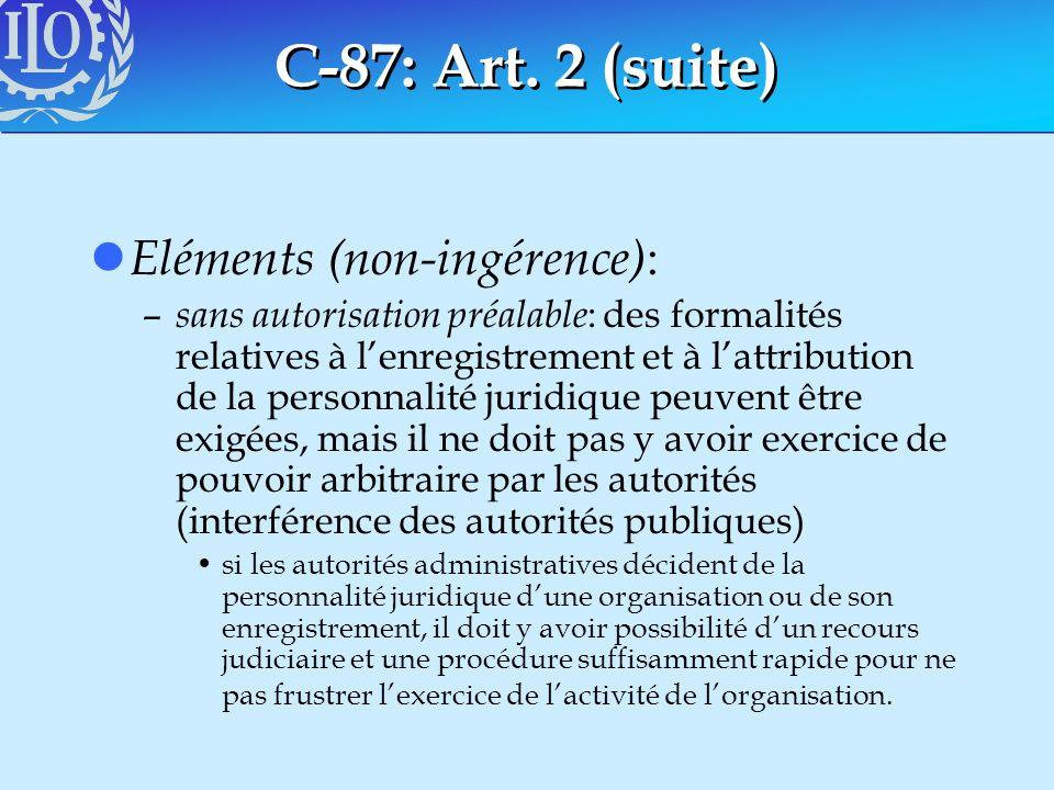 C-87: Art. 2 (suite) Eléments (non-ingérence):