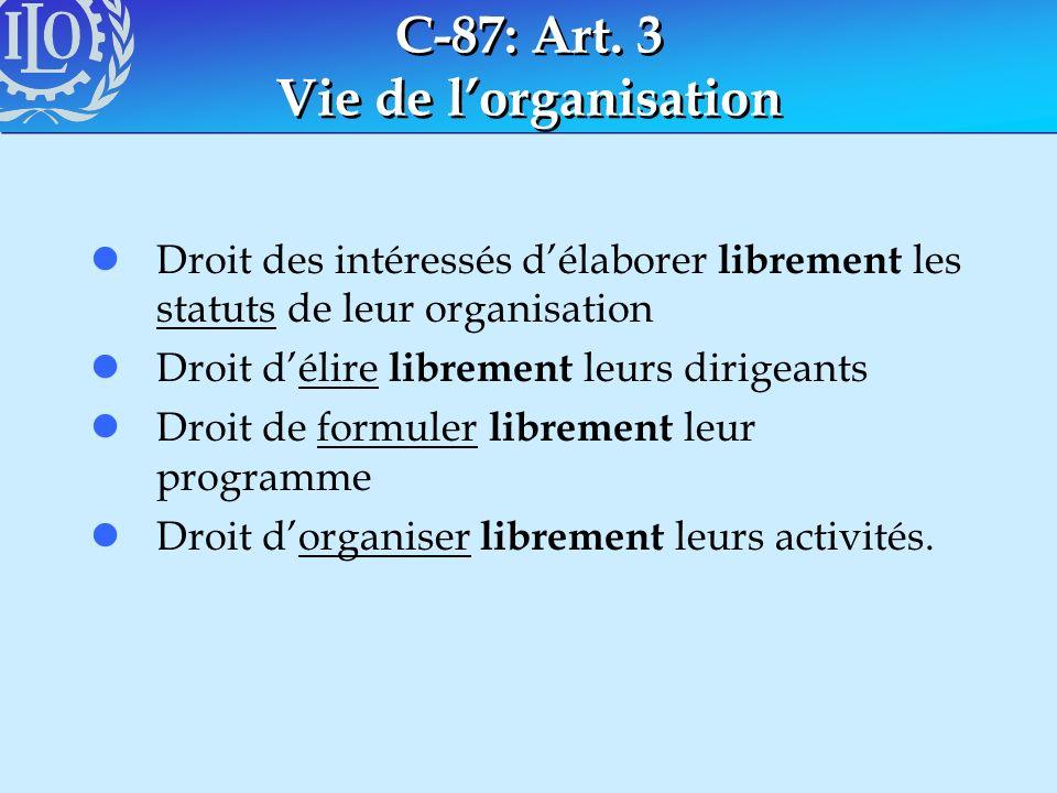 C-87: Art. 3 Vie de l'organisation