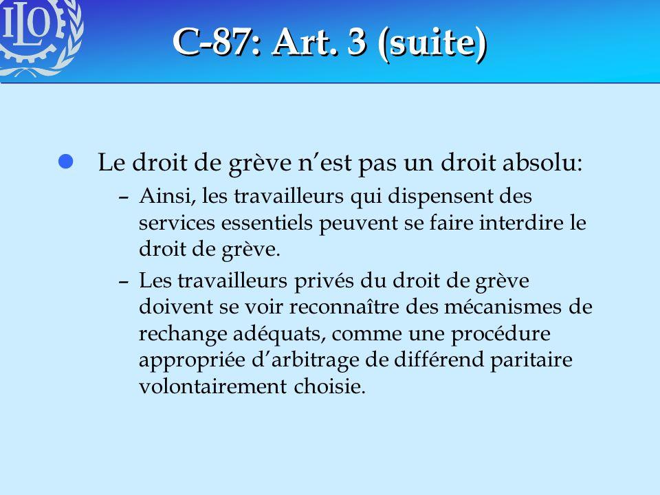 C-87: Art. 3 (suite) Le droit de grève n'est pas un droit absolu: