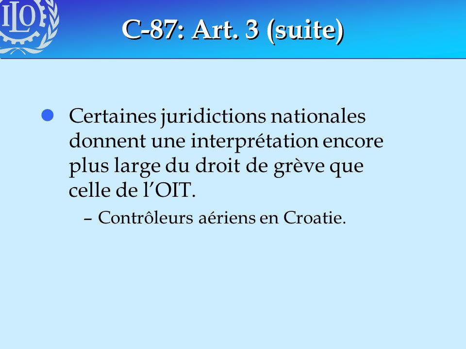 C-87: Art. 3 (suite) Certaines juridictions nationales donnent une interprétation encore plus large du droit de grève que celle de l'OIT.