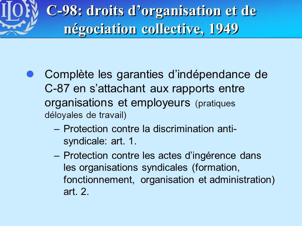 C-98: droits d'organisation et de négociation collective, 1949