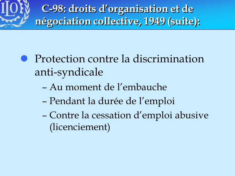 Protection contre la discrimination anti-syndicale