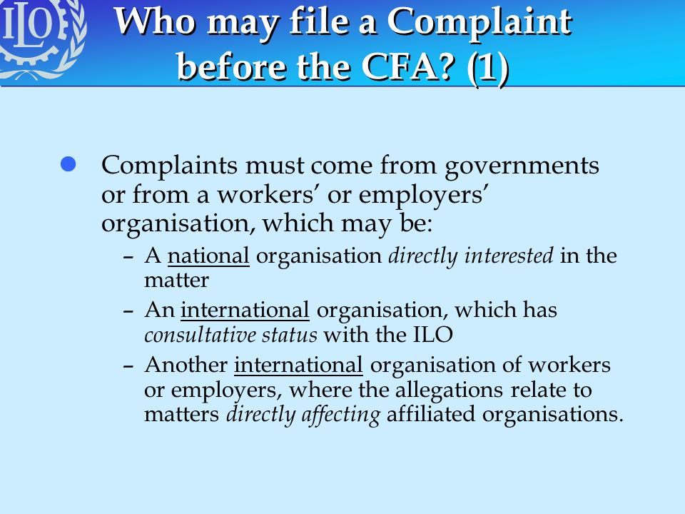 Who may file a Complaint before the CFA (1)