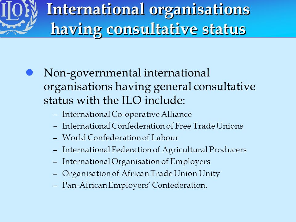 International organisations having consultative status