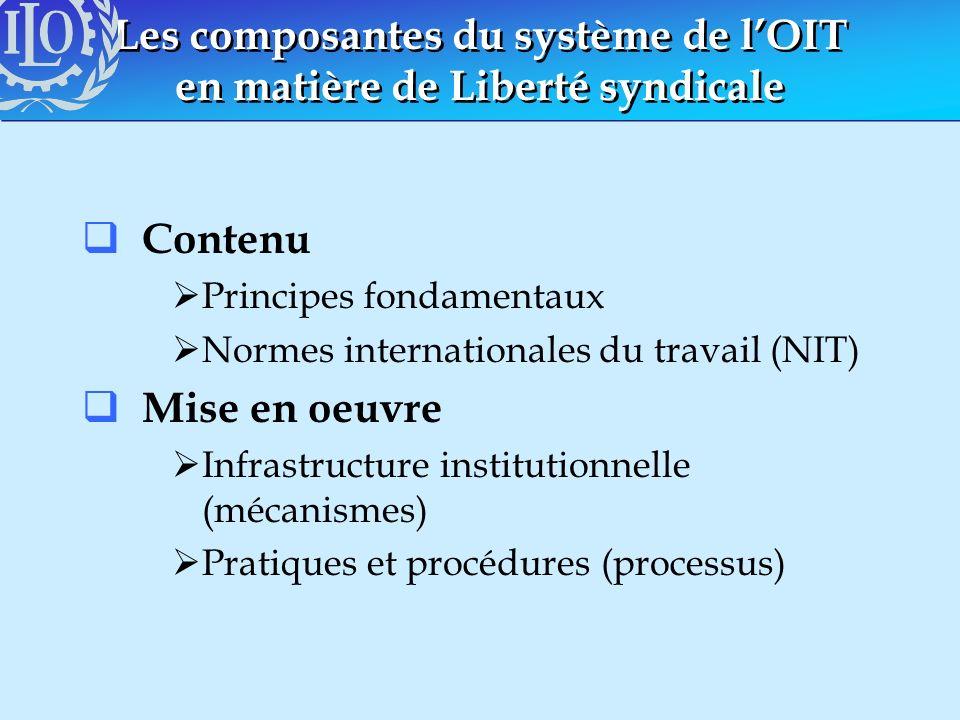Les composantes du système de l'OIT en matière de Liberté syndicale