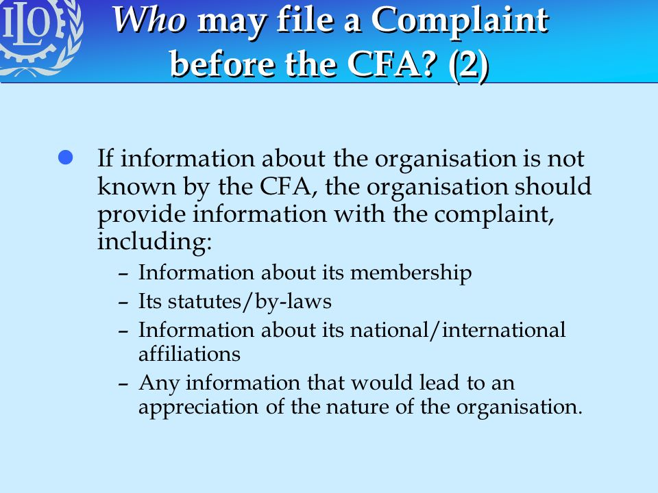 Who may file a Complaint before the CFA (2)