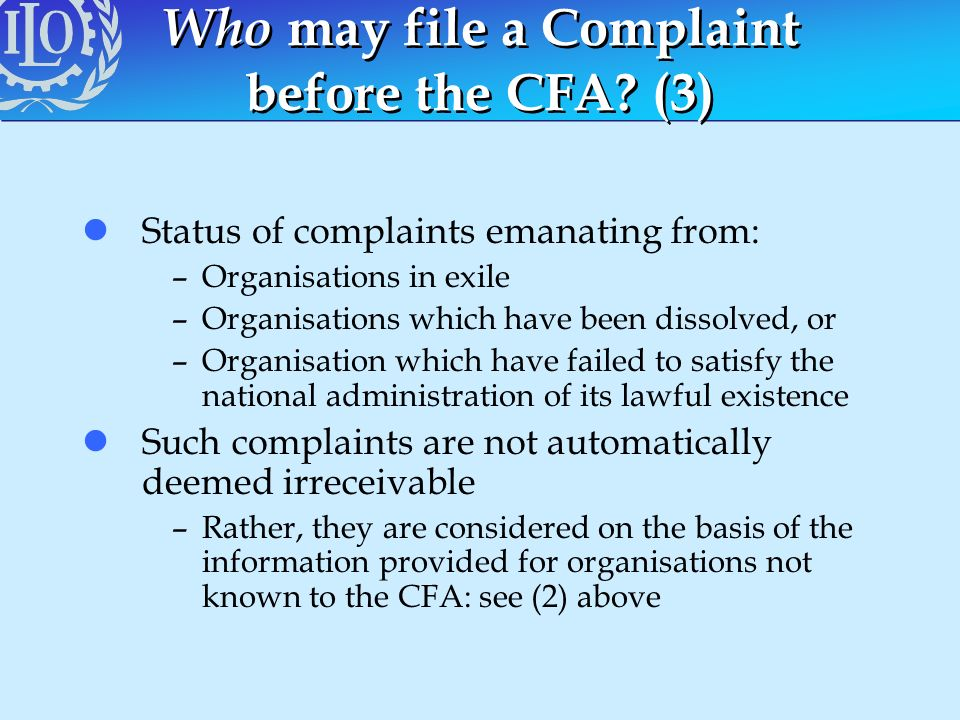 Who may file a Complaint before the CFA (3)