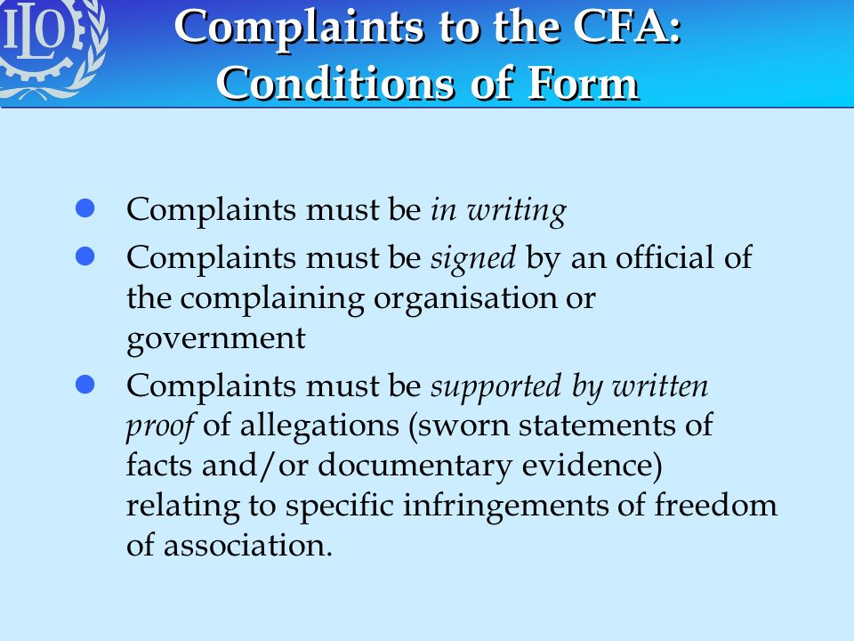 Complaints to the CFA: Conditions of Form