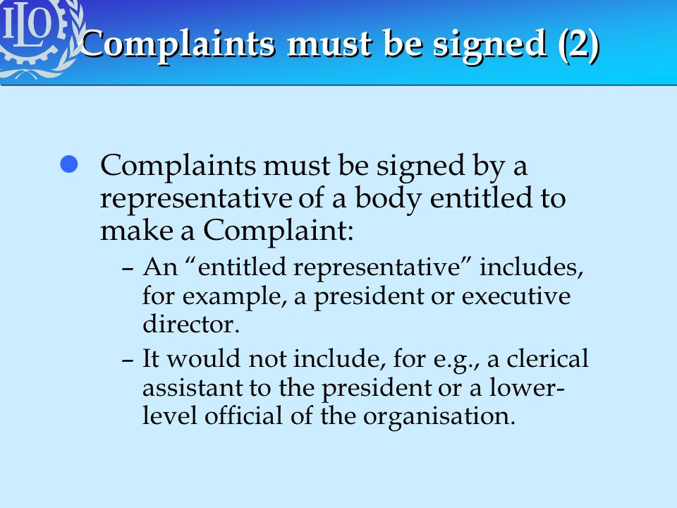 Complaints must be signed (2)