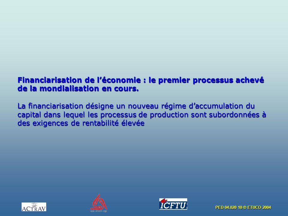 Financiarisation de l'économie : le premier processus achevé de la mondialisation en cours.