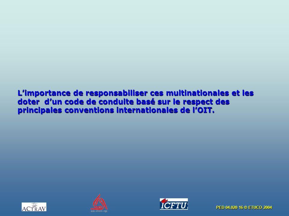 L'importance de responsabiliser ces multinationales et les doter d'un code de conduite basé sur le respect des principales conventions internationales de l'OIT.