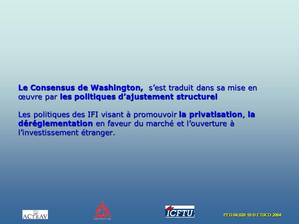 Le Consensus de Washington, s'est traduit dans sa mise en œuvre par les politiques d'ajustement structurel Les politiques des IFI visant à promouvoir la privatisation, la déréglementation en faveur du marché et l'ouverture à l'investissement étranger.