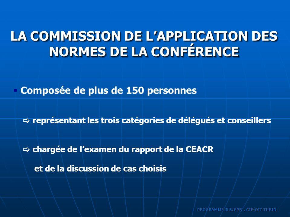 LA COMMISSION DE L'APPLICATION DES NORMES DE LA CONFÉRENCE