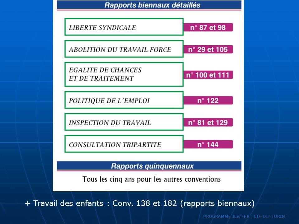 + Travail des enfants : Conv. 138 et 182 (rapports biennaux)