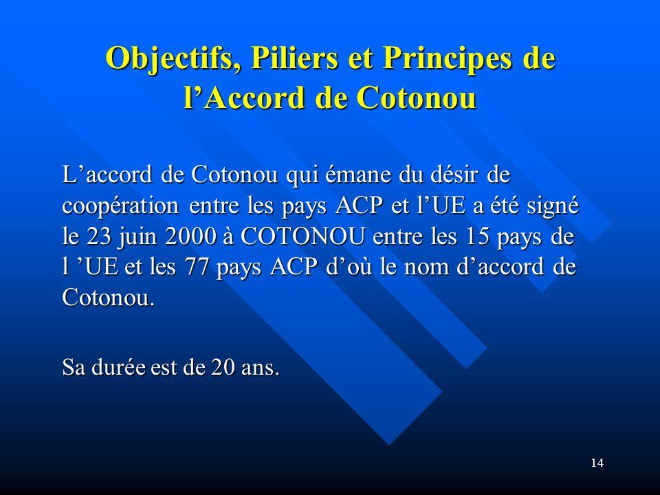 Objectifs, Piliers et Principes de l'Accord de Cotonou