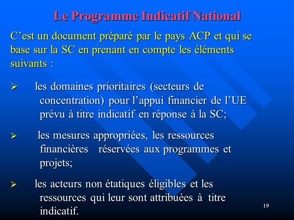 Le Programme Indicatif National