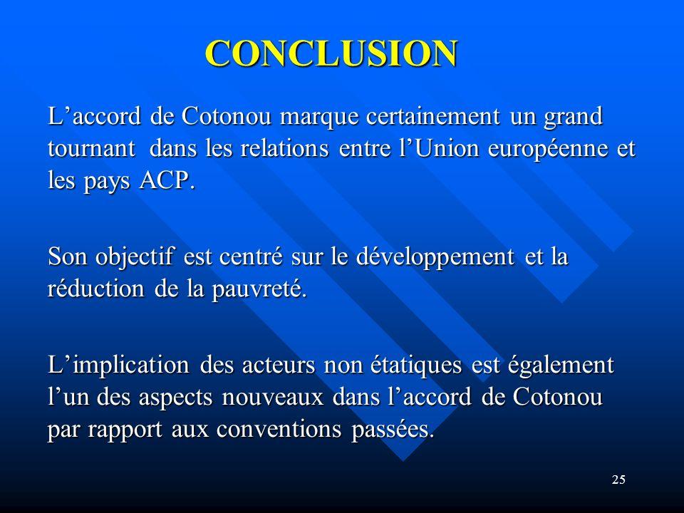 CONCLUSION L'accord de Cotonou marque certainement un grand tournant dans les relations entre l'Union européenne et les pays ACP.