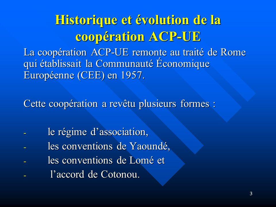 Historique et évolution de la coopération ACP-UE