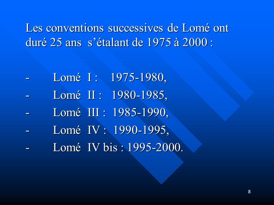 Les conventions successives de Lomé ont duré 25 ans s'étalant de 1975 à 2000 :