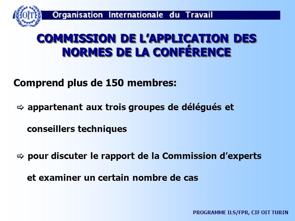 COMMISSION DE L'APPLICATION DES NORMES DE LA CONFÉRENCE