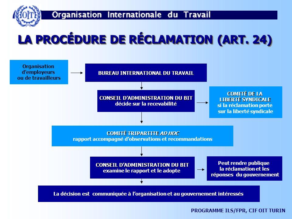 LA PROCÉDURE DE RÉCLAMATION (ART. 24)