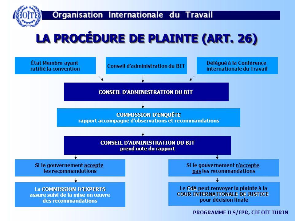 LA PROCÉDURE DE PLAINTE (ART. 26)