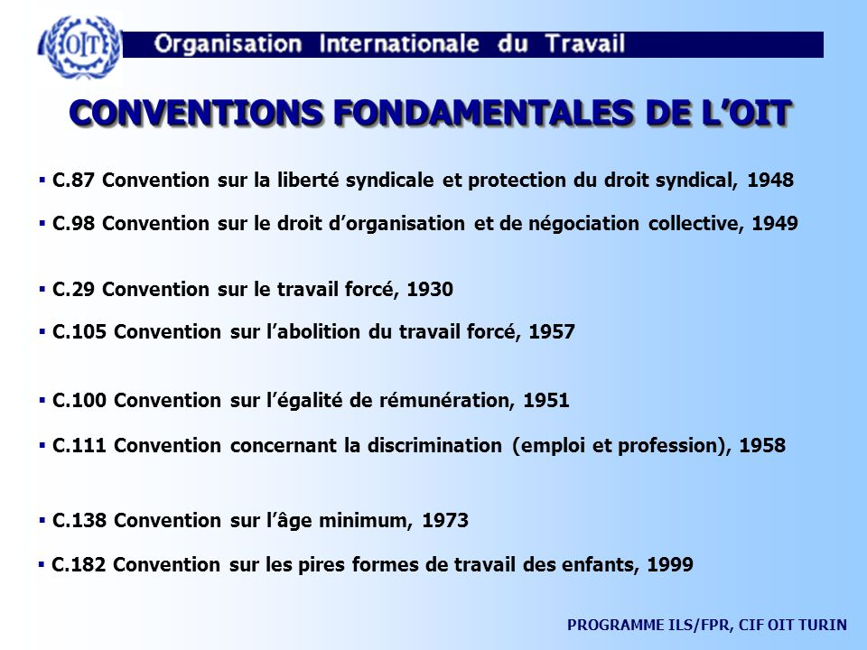 CONVENTIONS FONDAMENTALES DE L'OIT