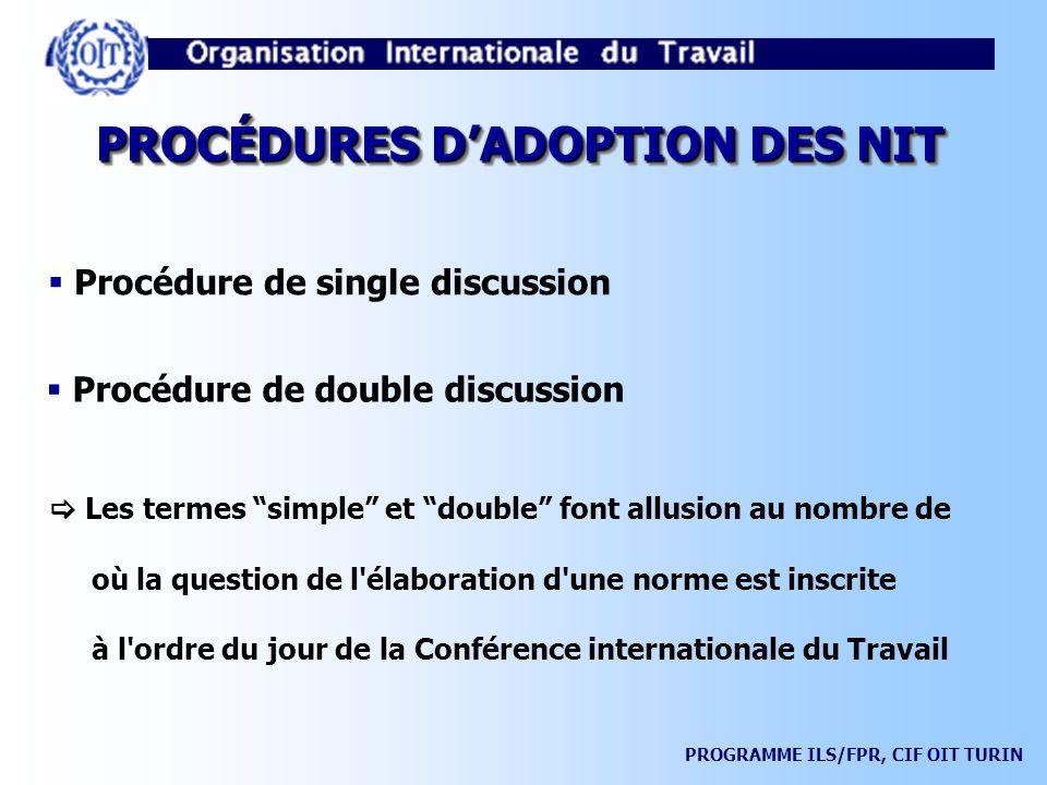 PROCÉDURES D'ADOPTION DES NIT