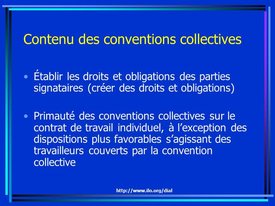Contenu des conventions collectives