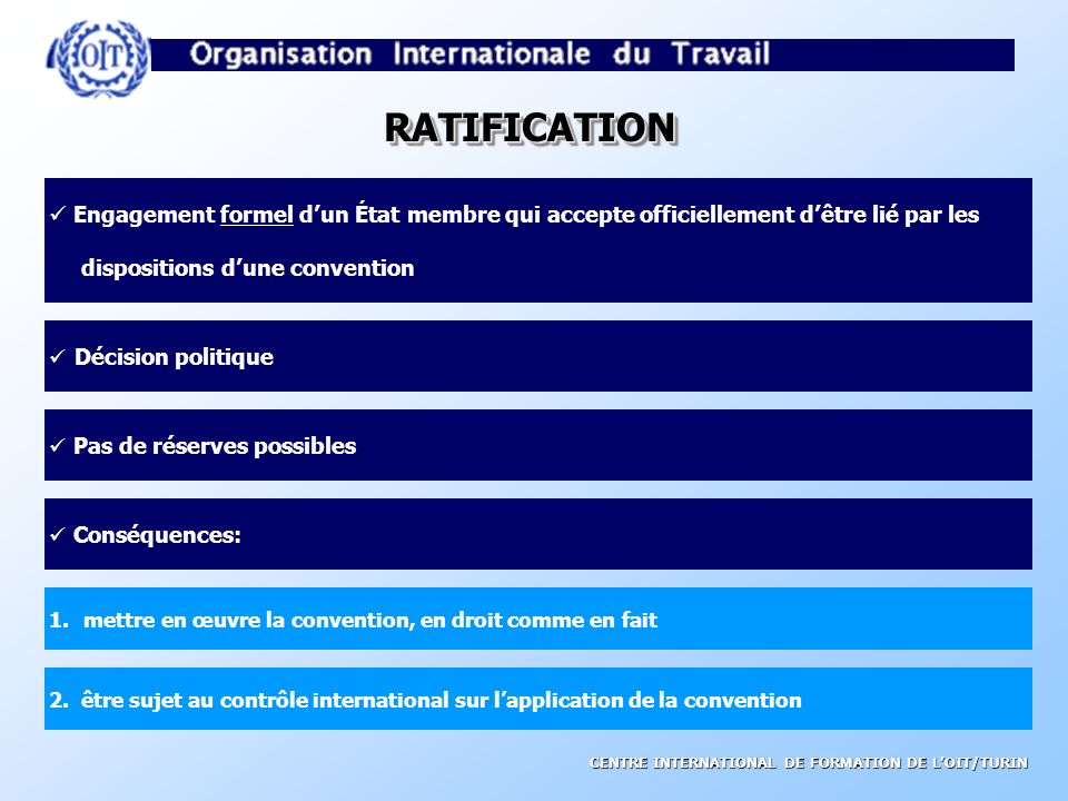 RATIFICATION Engagement formel d'un État membre qui accepte officiellement d'être lié par les. dispositions d'une convention.