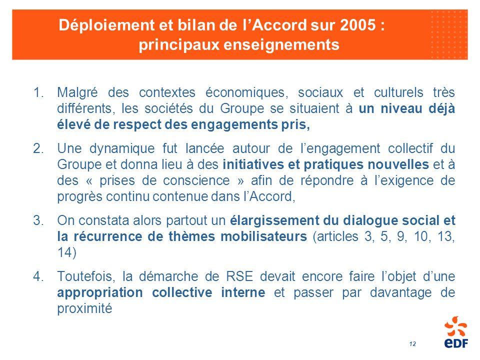 Déploiement et bilan de l'Accord sur 2005 : principaux enseignements
