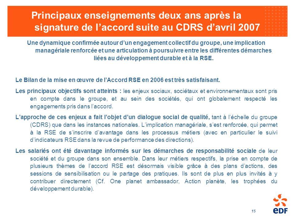 Principaux enseignements deux ans après la signature de l'accord suite au CDRS d'avril 2007