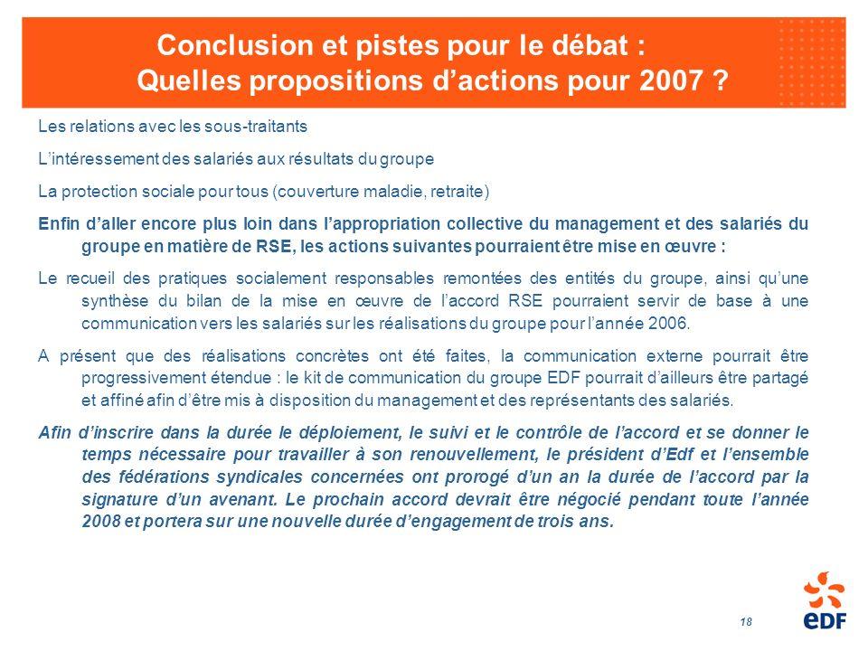 Conclusion et pistes pour le débat : Quelles propositions d'actions pour 2007