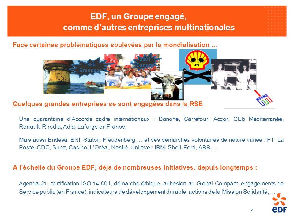 EDF, un Groupe engagé, comme d'autres entreprises multinationales