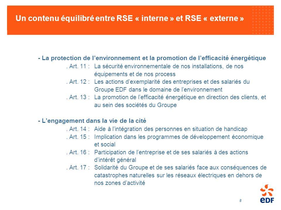 Un contenu équilibré entre RSE « interne » et RSE « externe »