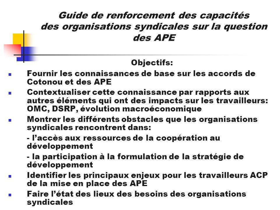 Guide de renforcement des capacités des organisations syndicales sur la question des APE