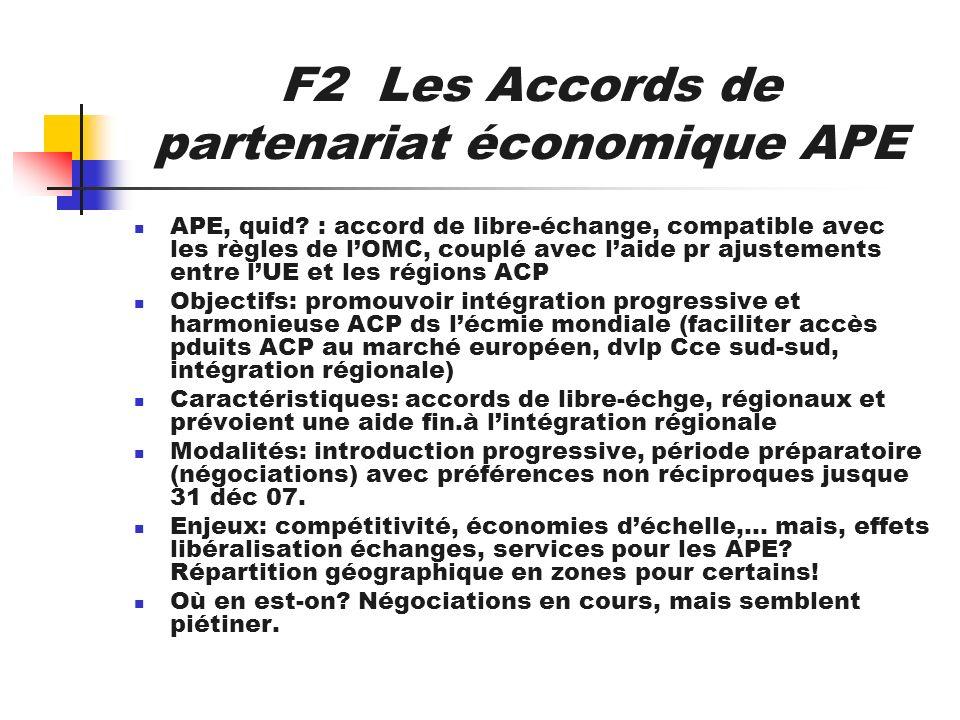 F2 Les Accords de partenariat économique APE