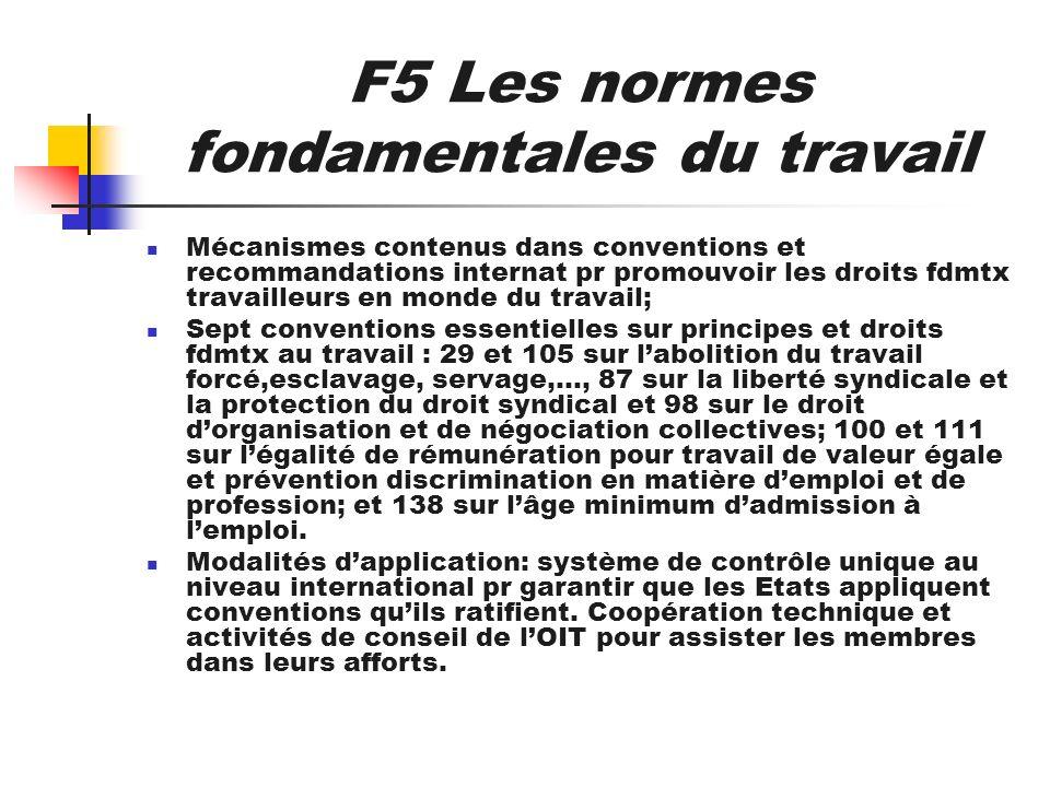 F5 Les normes fondamentales du travail