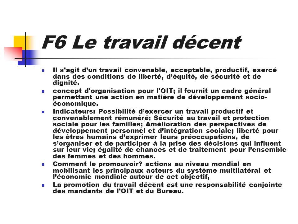 F6 Le travail décent