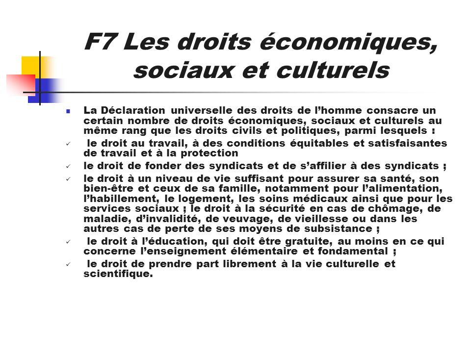F7 Les droits économiques, sociaux et culturels