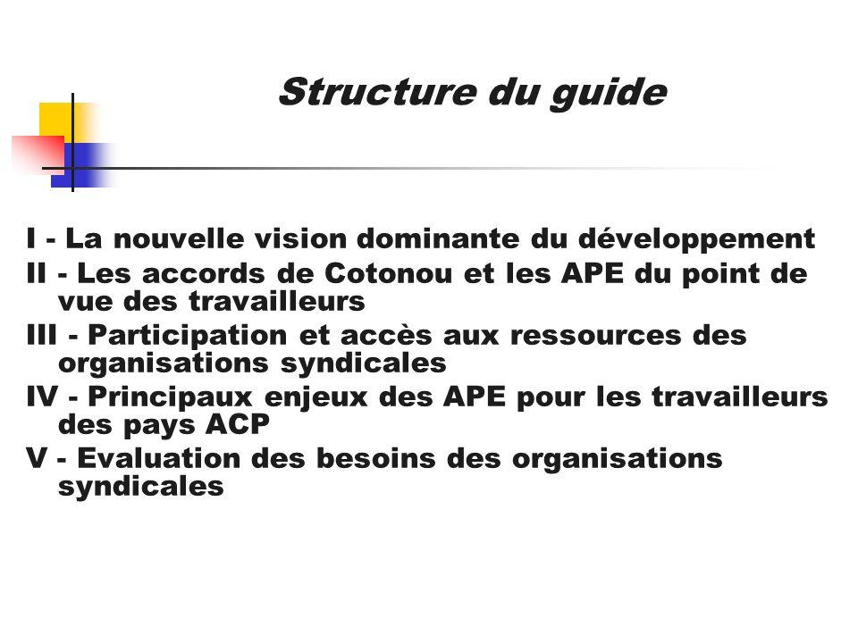 Structure du guide I - La nouvelle vision dominante du développement